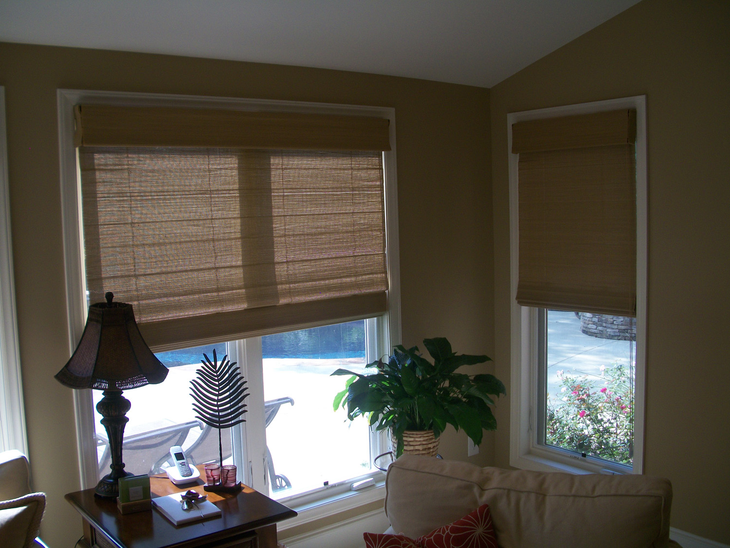 How To Cover A Triple Window With Woven Wood Shades